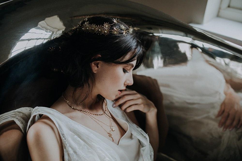 Bride Bridal Accessory Gold Tiara Crown Headpiece Star Floral Bohemian Woodland Wedding Ideas Lola Rose Photography
