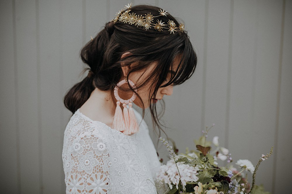 Bride Bridal Accessory Gold Tiara Crown Headpiece Star Floral Tassel Earrings Bohemian Woodland Wedding Ideas Lola Rose Photography