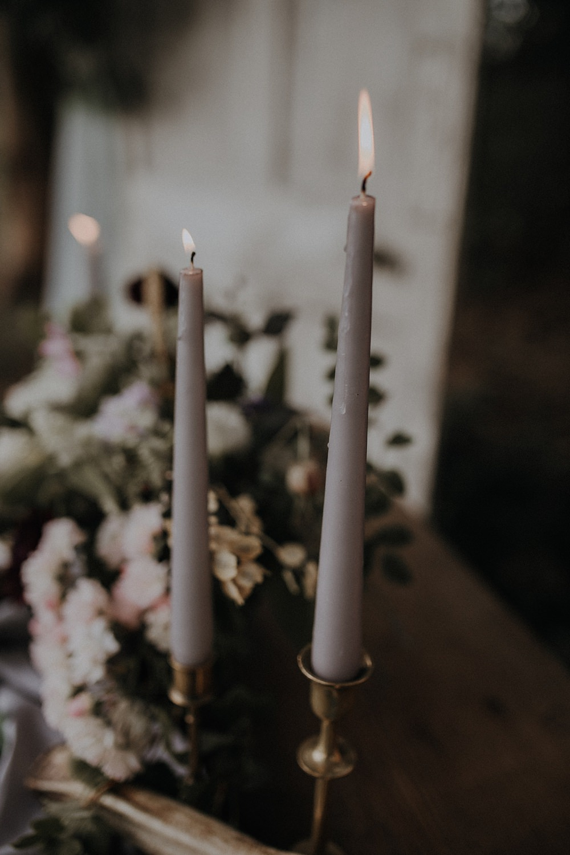 Grey Long Candles Decor Bohemian Woodland Wedding Ideas Lola Rose Photography