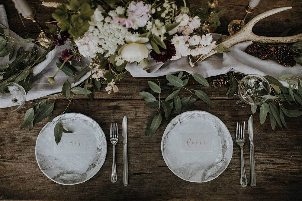 Table Flowers Tablescape Wild Natural Arrangement Antler Place Settings Bohemian Woodland Wedding Ideas Lola Rose Photography