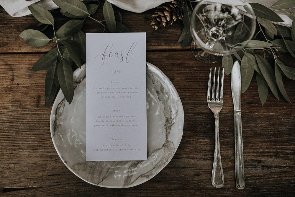 Place Setting Plates Menu Stationery Calligraphy Grey Bohemian Woodland Wedding Ideas Lola Rose Photography