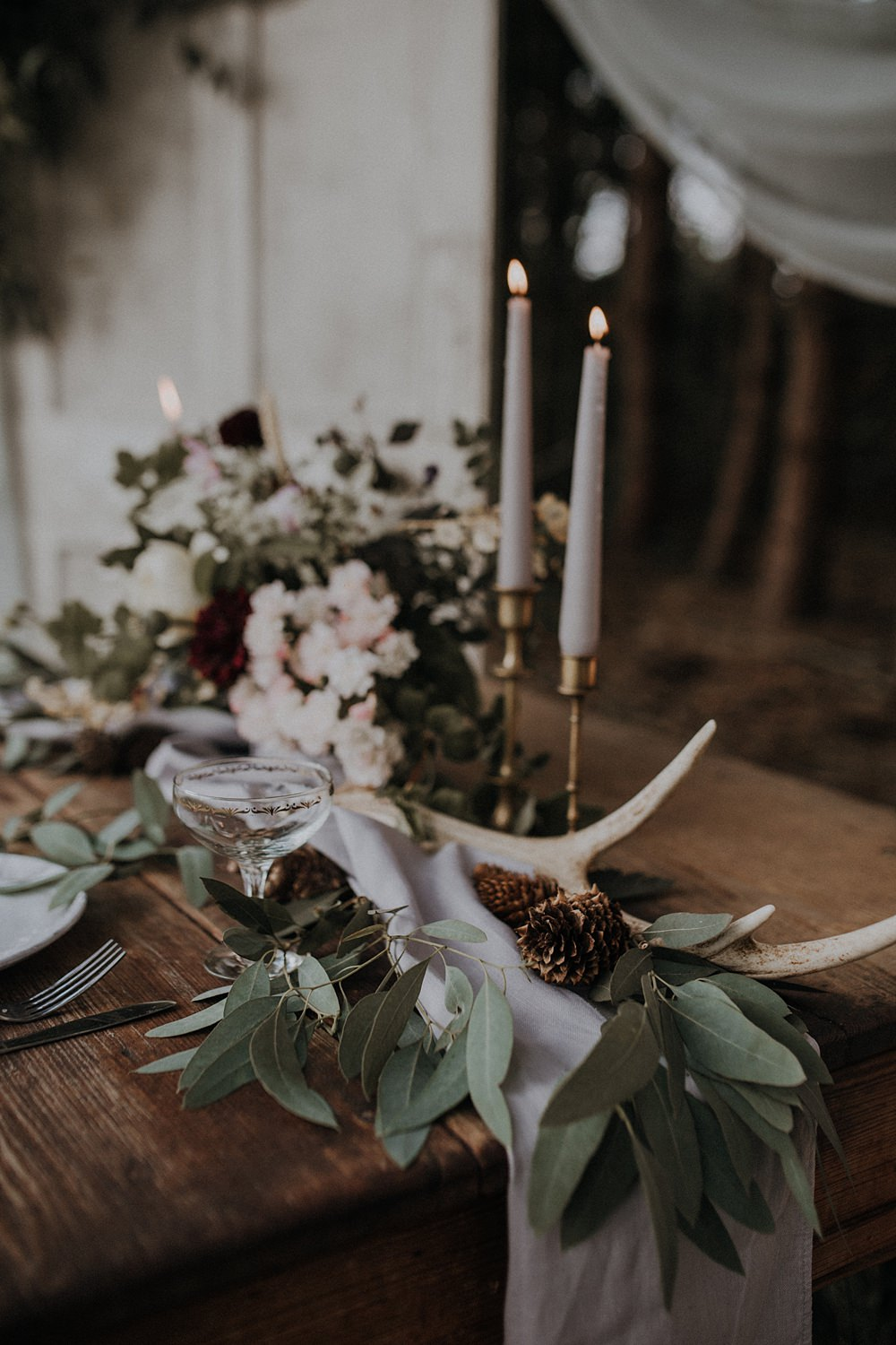 Table Flowers Tablescape Wild Natural Arrangement Antlers Greenery Foliage Runner Bohemian Woodland Wedding Ideas Lola Rose Photography