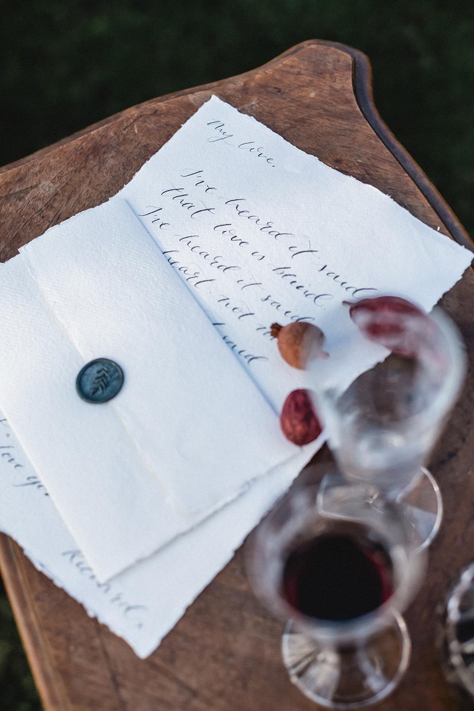 Calligraphy Stationery Letter Wax Seal Envelope Boho Modern Romance Wedding Ideas Masha Unwerth Photography