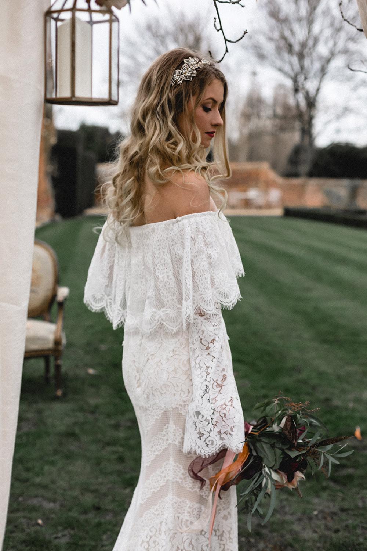 Bride Bridal Dress Gown Bohemian Off Shoulder Bardot Lace Train Sleeves Boho Modern Romance Wedding Ideas Masha Unwerth Photography