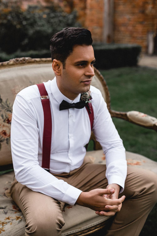 Groom Style Outfit Braces Bow Tie Chinos Boho Modern Romance Wedding Ideas Masha Unwerth Photography