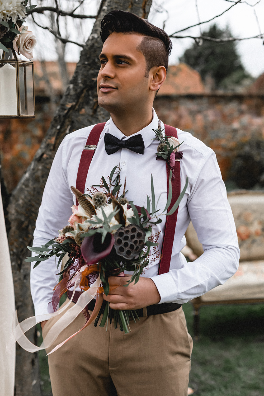 Bouquet Flowers Bride Bridal Ribbons Red Greenery Pink Foliage burgundy Calla Lily Pheasant Feathers Eucalyptus Nicoli Boho Modern Romance Wedding Ideas Masha Unwerth Photography