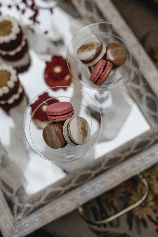 Drinks Cocktails Macarons Dessert Tray Boho Modern Romance Wedding Ideas Masha Unwerth Photography