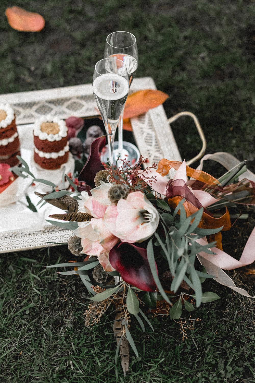 Drinks Cocktails Macarons Dessert Tray Flowers Boho Modern Romance Wedding Ideas Masha Unwerth Photography
