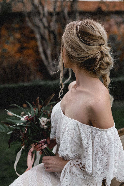 Bride Bridal Bohemian Hair Waves Up Do Style Boho Modern Romance Wedding Ideas Masha Unwerth Photography