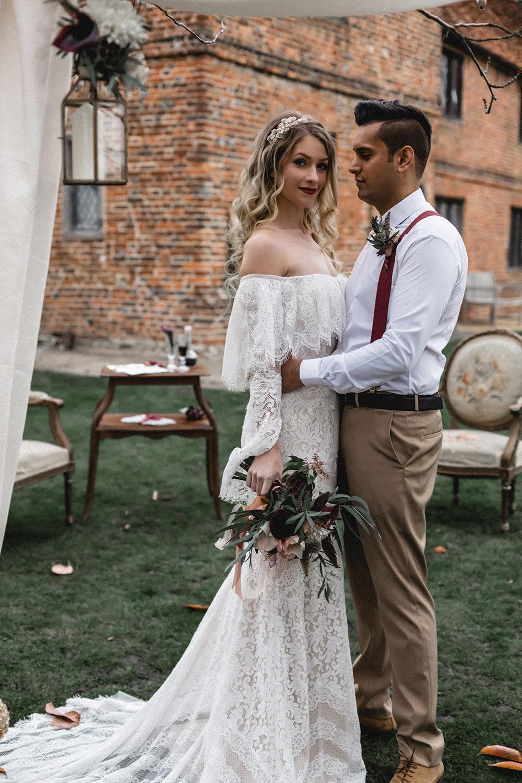Hanging Lanterns Drapes Fabric Backdrop Boho Modern Romance Wedding Ideas Masha Unwerth Photography