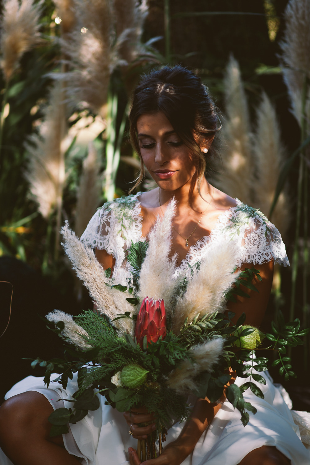 Bride Bridal Bouquet Flowers Protea Greenery Foliage Botanical Dark Green Velvet Pampas Grass Wedding Ideas Bárbara Araújo Photography