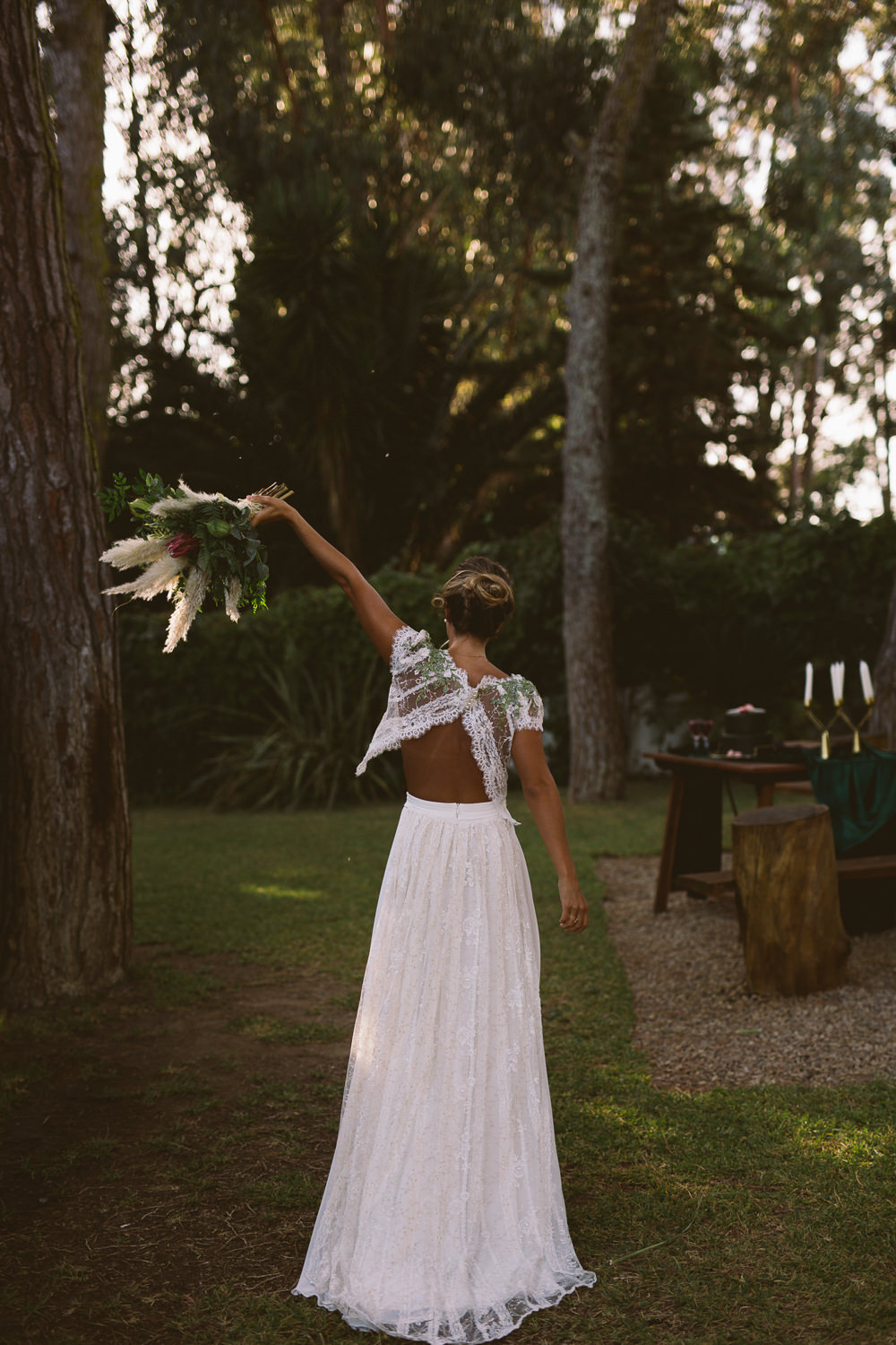 Dress Gown Bride Bridal Separates Skirt Top Open Back Lace Botanical Dark Green Velvet Pampas Grass Wedding Ideas Bárbara Araújo Photography