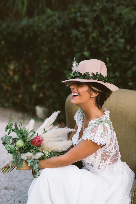 2c6b97aa28a5f ... Bride Bridal Fedora Hat Accessory Greenery Foliage Floral Flowers  Botanical Dark Green Velvet Pampas Grass Wedding ...