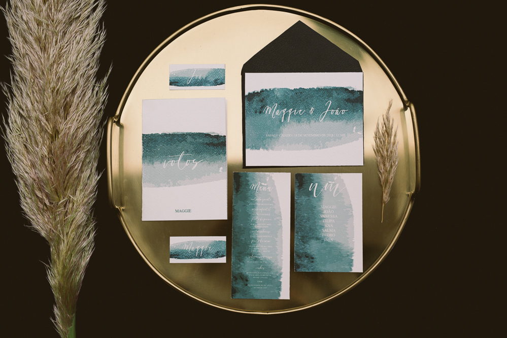Watercolour Stationery Invitations Invites Suite Botanical Dark Green Velvet Pampas Grass Wedding Ideas Bárbara Araújo Photography
