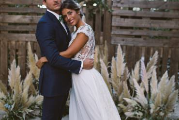 Botanical Dark Green Velvet & Pampas Grass Wedding Ideas