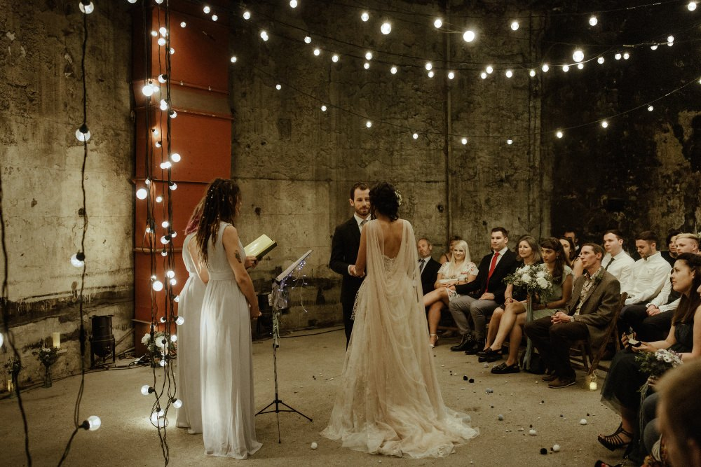Festoon Lights Lighting Ceremony Brunel Museum Wedding Olivia and Dan Photography
