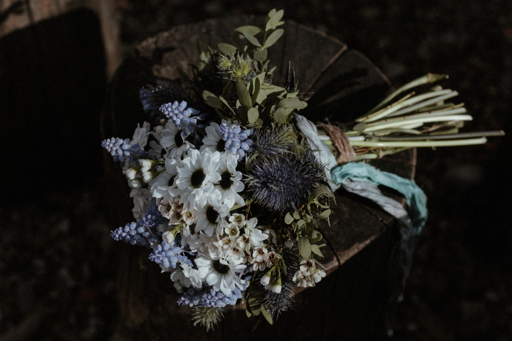 Bride Bridal Flowers Bouquet Blue Thistle Ribbon Hyacinth Brunel Museum Wedding Olivia and Dan Photography