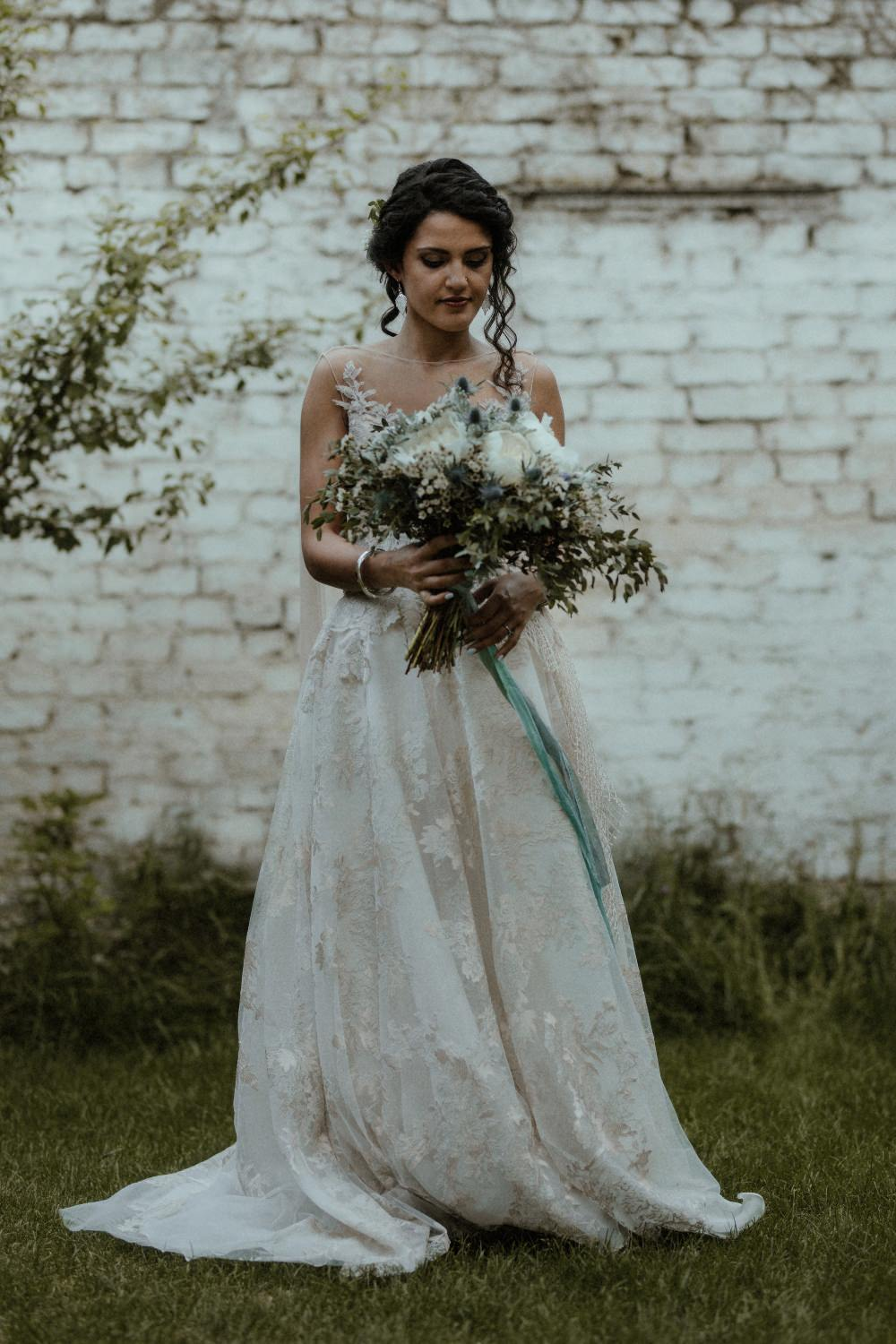 Bouquet Flowers Thistle Peony Ribbon Bride Bridal Dress Gown Illusion Lace Cape Veil Gemy Maalouf Brunel Museum Wedding Olivia and Dan Photography