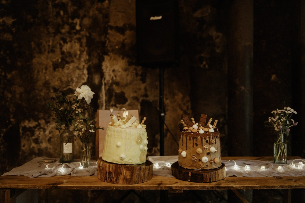 Chocolate Drip Cakes Log Slice Stands Brunel Museum Wedding Olivia and Dan Photography