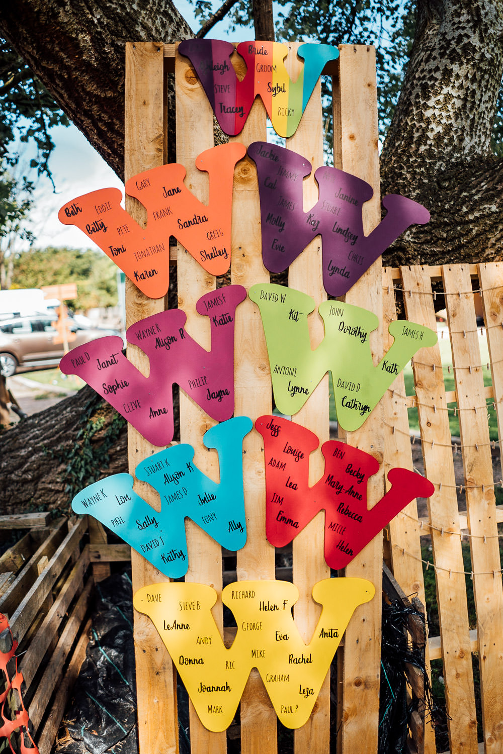 Table Plan Pallet Seating Chart Colourful Tipi Garden Wedding Fairclough Studios