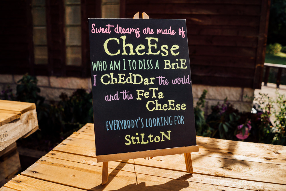 Sweet Dreams Cheese Sign Mini Blackboard Colourful Tipi Garden Wedding Fairclough Studios