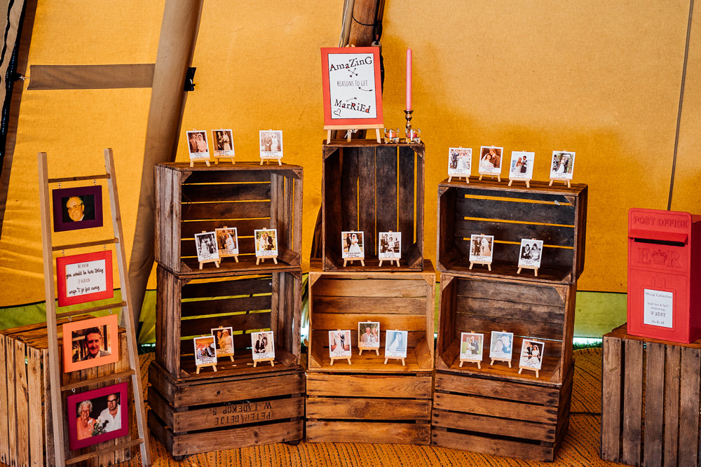 Wooden Crate Ladder Polaroids Photograph Colourful Tipi Garden Wedding Fairclough Studios