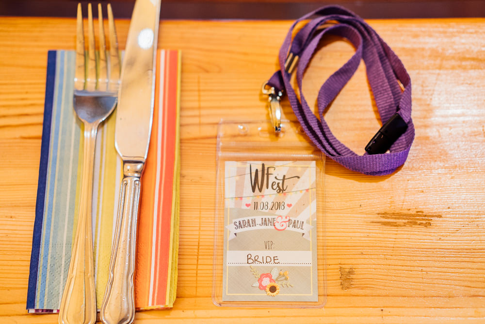 Place Setting Lanyard Festival Colourful Tipi Garden Wedding Fairclough Studios