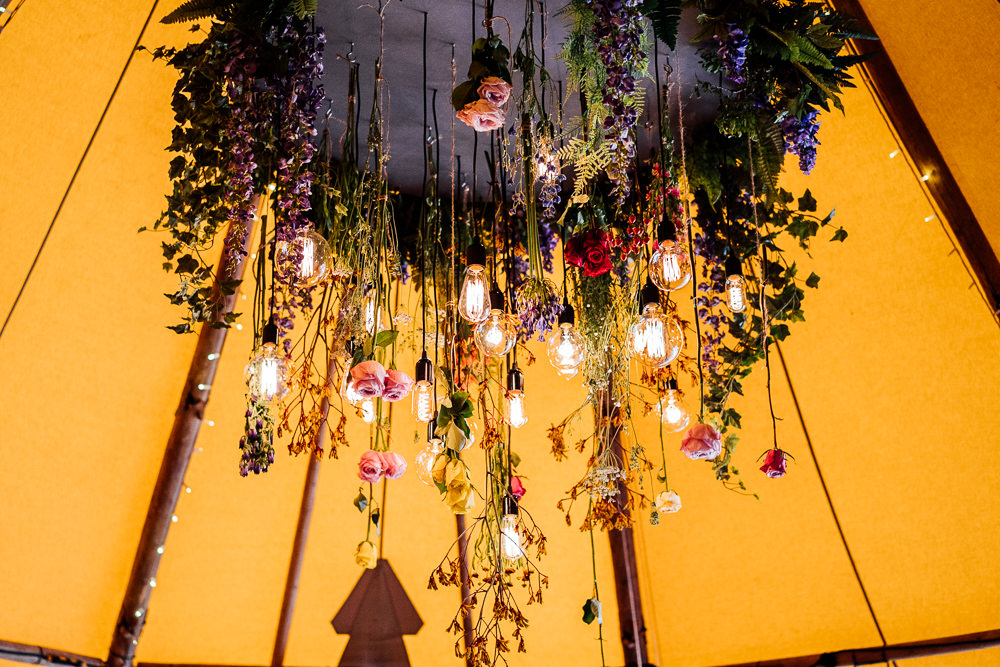 Flowers Floral Edison Light Bulb Hanging Installation Colourful Tipi Garden Wedding Fairclough Studios