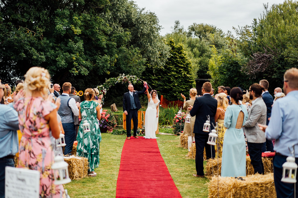 Bride Bridal Embellished Shoulder Beaded Dress Gown Veil Floral Flower Crown Blue Three Piece Suit Groom Outdoor Ceremony Red Carpet Colourful Tipi Garden Wedding Fairclough Studios