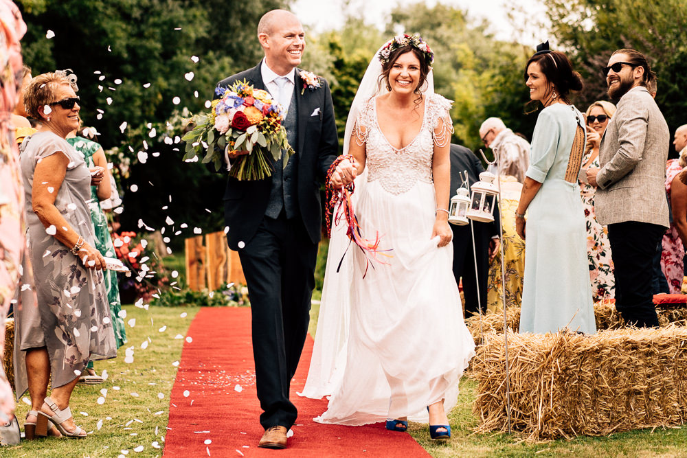 Bride Bridal Embellished Shoulder Beaded Dress Gown Veil Floral Flower Crown Blue Three Piece Suit Groom Confetti Colourful Tipi Garden Wedding Fairclough Studios