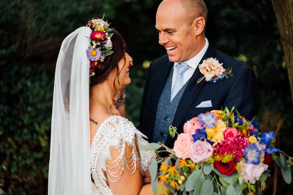 Bride Bridal Embellished Shoulder Beaded Dress Gown Veil Floral Flower Crown Blue Three Piece Suit Groom Colourful Tipi Garden Wedding Fairclough Studios