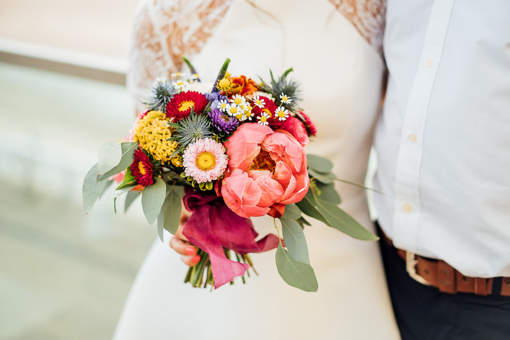 Multicolour Bouquet Peony Daisy Bride Bridal Colourful Tipi Garden Wedding Fairclough Studios