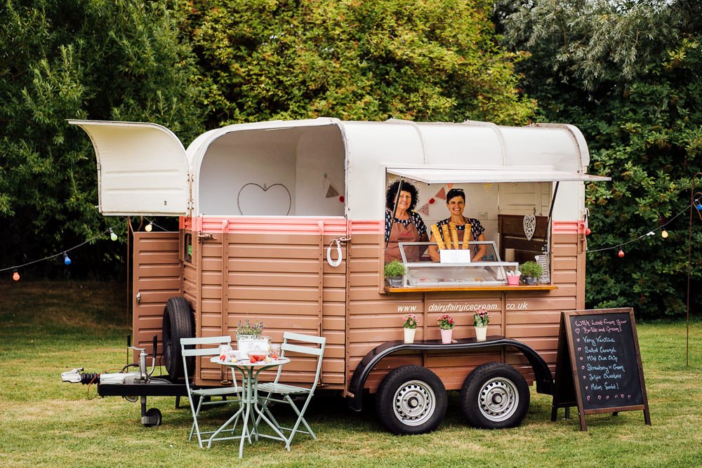 Horse Box Vintage Ice Cream Colourful Tipi Garden Wedding Fairclough Studios