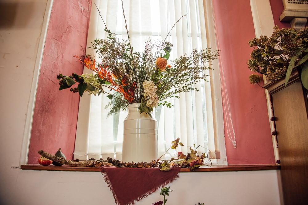 Jug Flower Arrangement Natural Wild Druidstone Wedding Florence Fox Photography