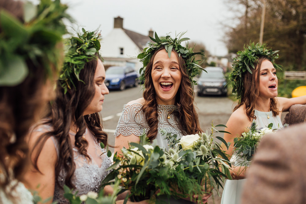 Bridesmaids Flower Crowns Greenery Foliage Bouquets Grey Green Dresses Druidstone Wedding Florence Fox Photography