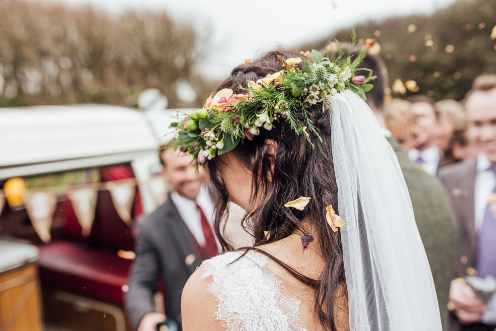 Flower Crown Bride Bridal Veil Druidstone Wedding Florence Fox Photography