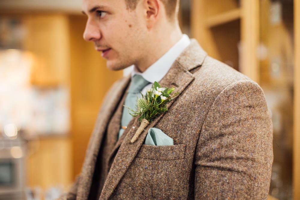 Buttonhole Flowers Twine Thistle Druidstone Wedding Florence Fox Photography