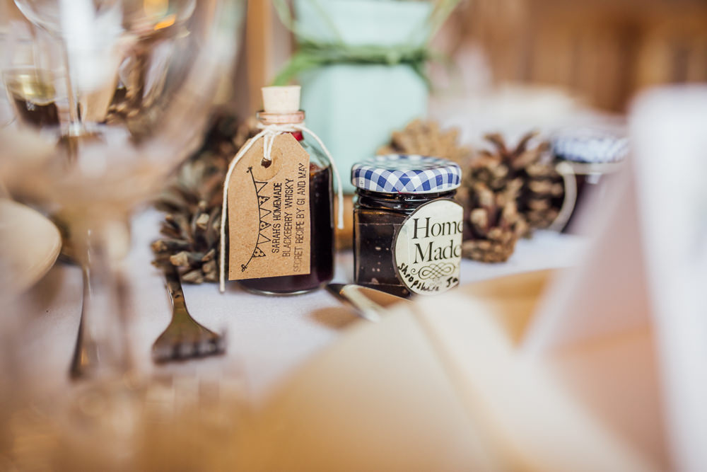 Favours Jar Jam Mini Bottle Drinks Druidstone Wedding Florence Fox Photography