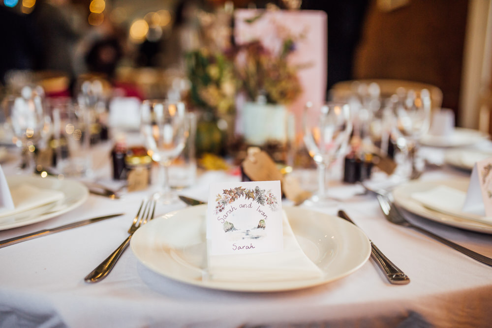 Place Setting Illustrated Autumn Leaf Table Place Card Name Druidstone Wedding Florence Fox Photography