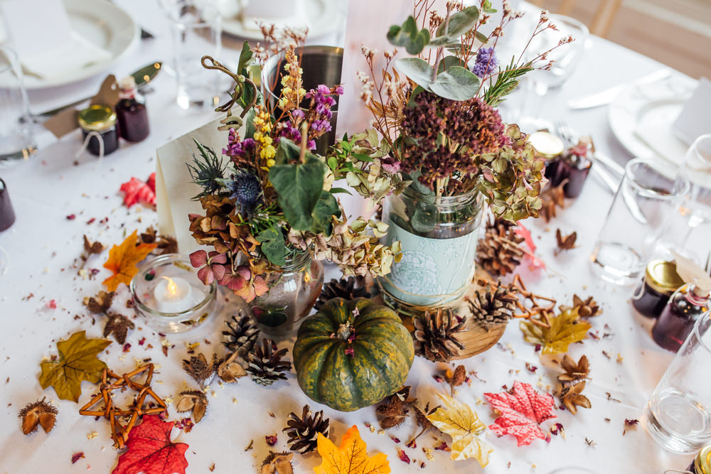 Table Centrepiece Flowers Jar Log Slice Pinecones Decor Leaf Leaves Pumpkin Druidstone Wedding Florence Fox Photography