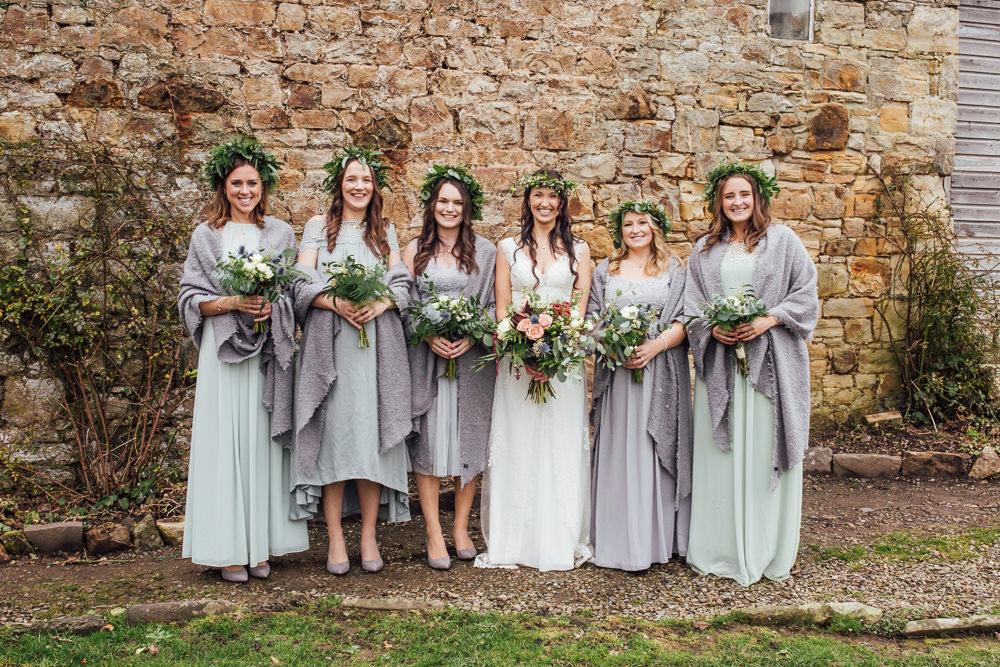 Bridesmaids Flower Crowns Greenery Foliage Bouquets Grey Green Dresses Shawls Druidstone Wedding Florence Fox Photography