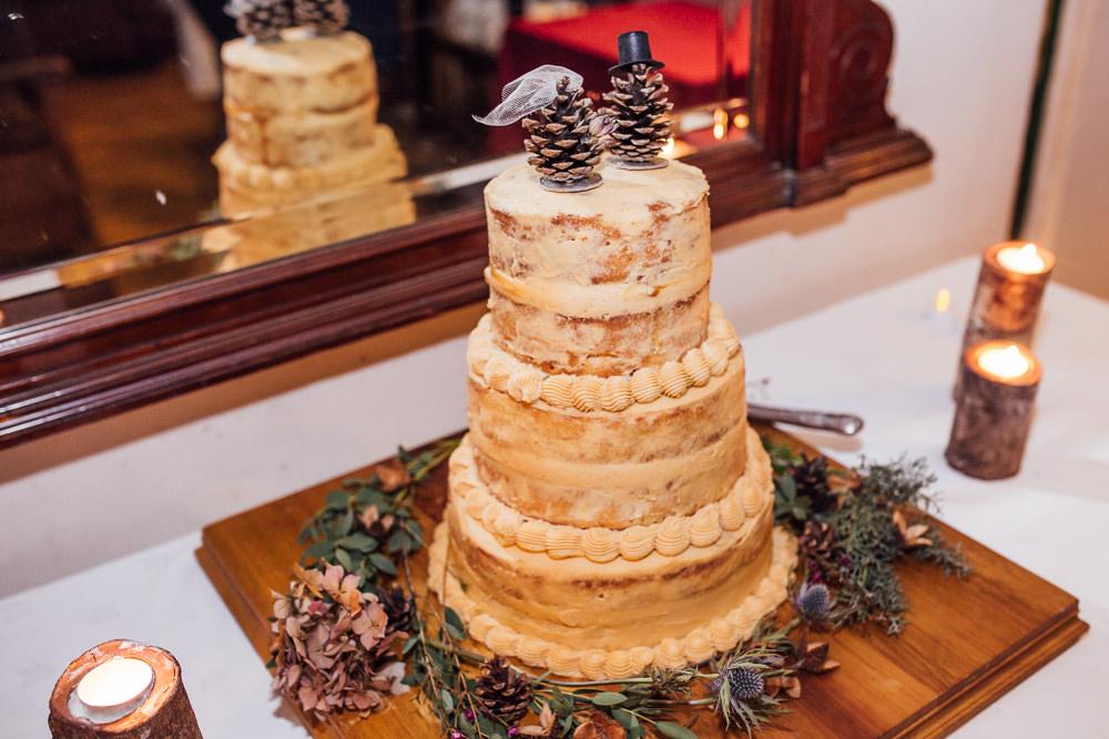Semi Naked Cake Pine Cone Topper Druidstone Wedding Florence Fox Photography