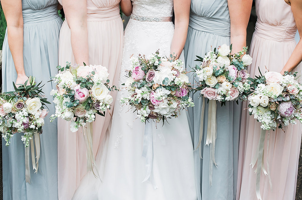 Bride Bridal Bridesmaids Bouquet White Pink Ribbon Edmondsham House Wedding Darima Frampton Photography