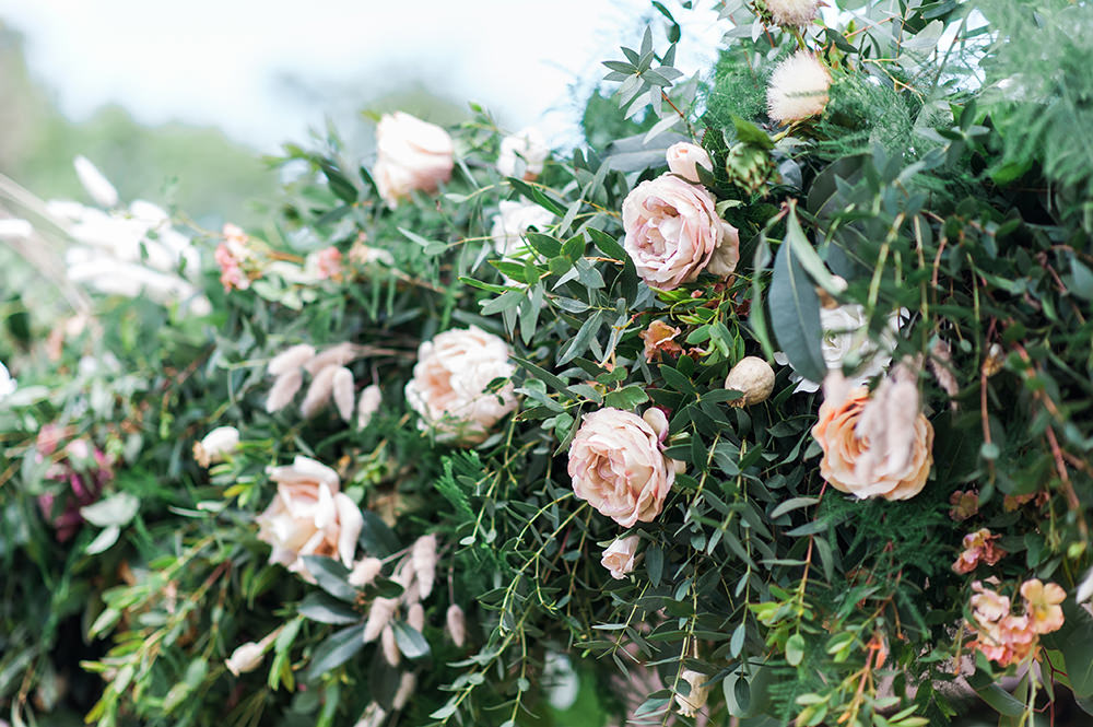 Greenery Pink Rose Floral Archway Backdrop Edmondsham House Wedding Darima Frampton Photography