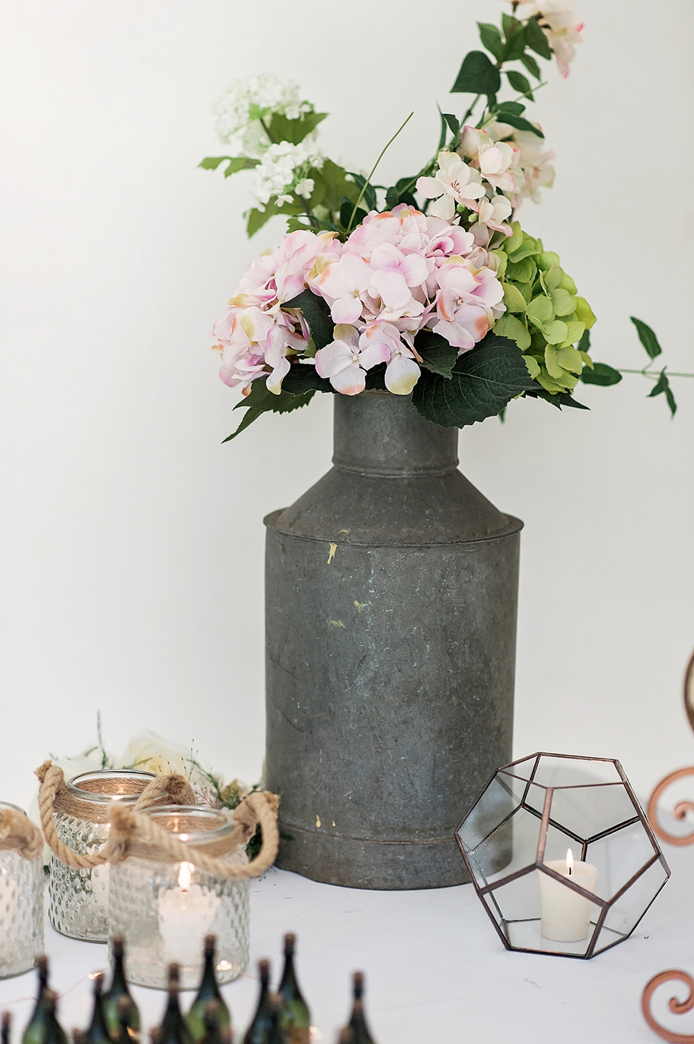 Milk Churn Floral Arrangement Geometric Candle Holiday Edmondsham House Wedding Darima Frampton Photography