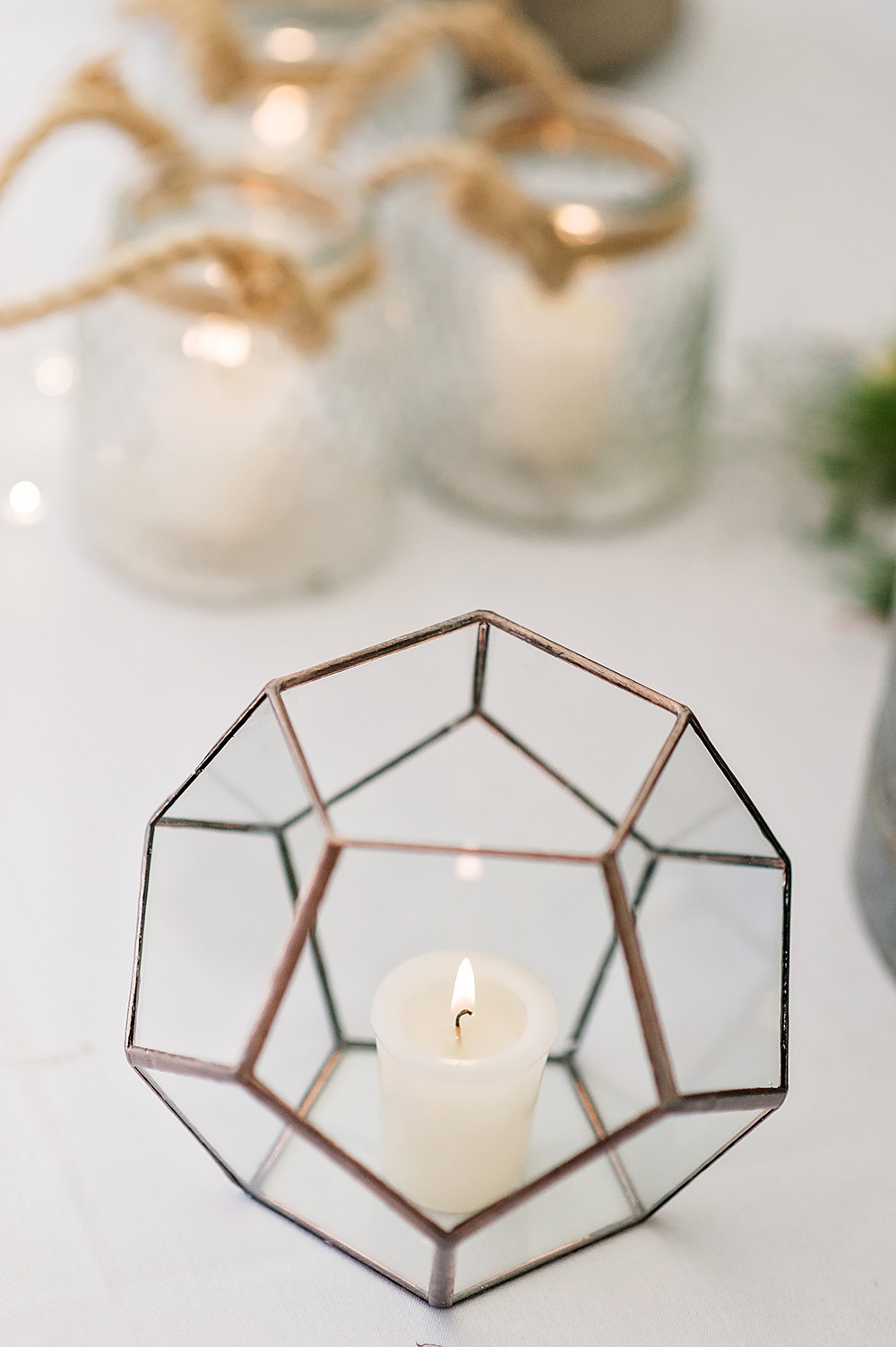 Geometric Candle Holder Edmondsham House Wedding Darima Frampton Photography