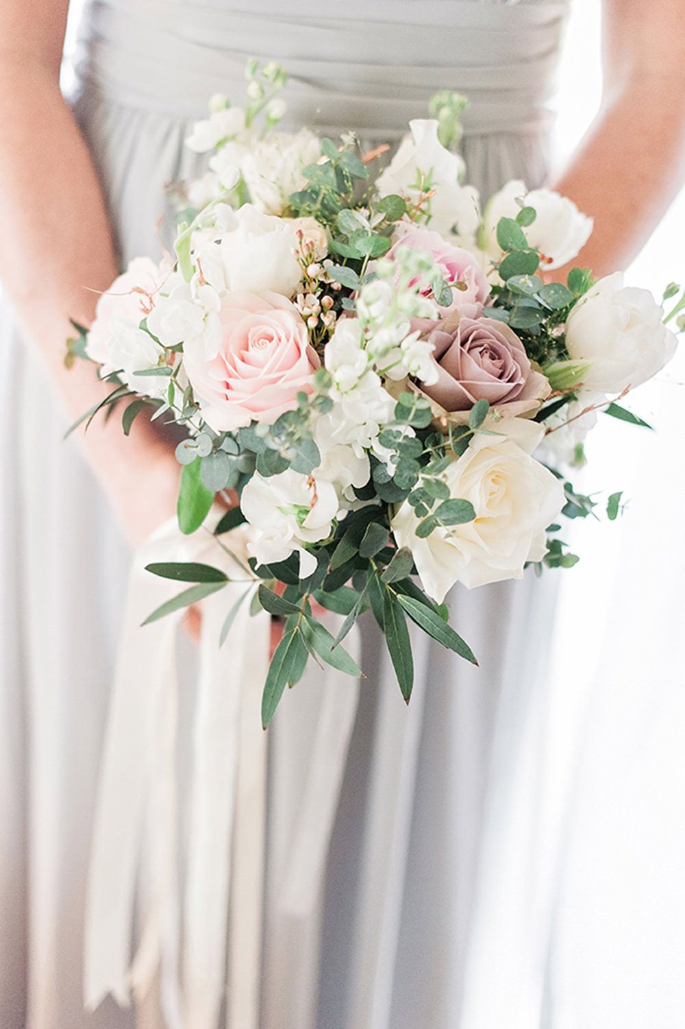 Bride Bridal Bridesmaids Bouquet Pink White Blush Roses Greenery Foliage Edmondsham House Wedding Darima Frampton Photography