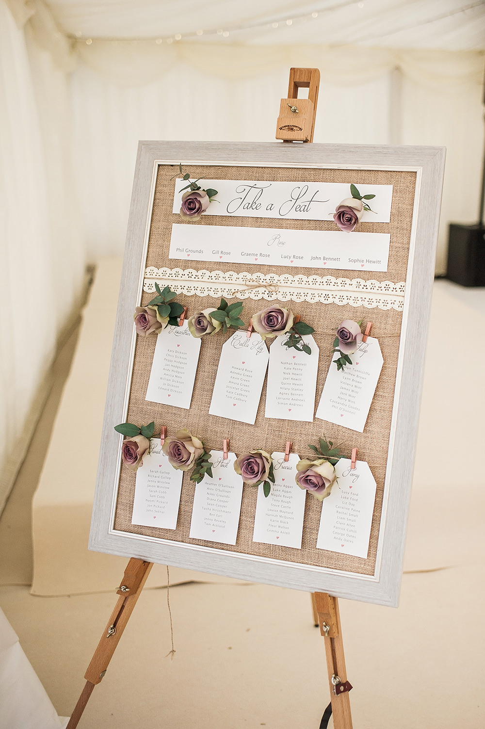 Table Plan Burlap Hessian Rose Tag Easel Edmondsham House Wedding Darima Frampton Photography