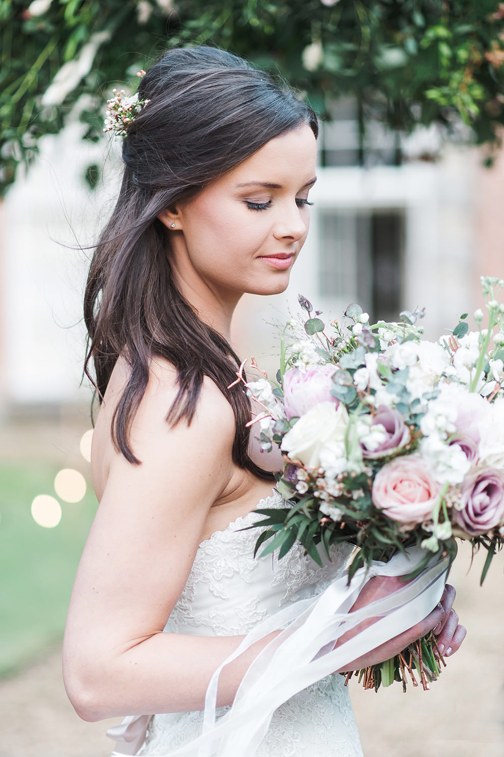 Bride Bridal Gown Dress Strapless Sweetheart Neckline Ribbon Belt Pink Bouquet Rose Peony Ribbon Edmondsham House Wedding Darima Frampton Photography