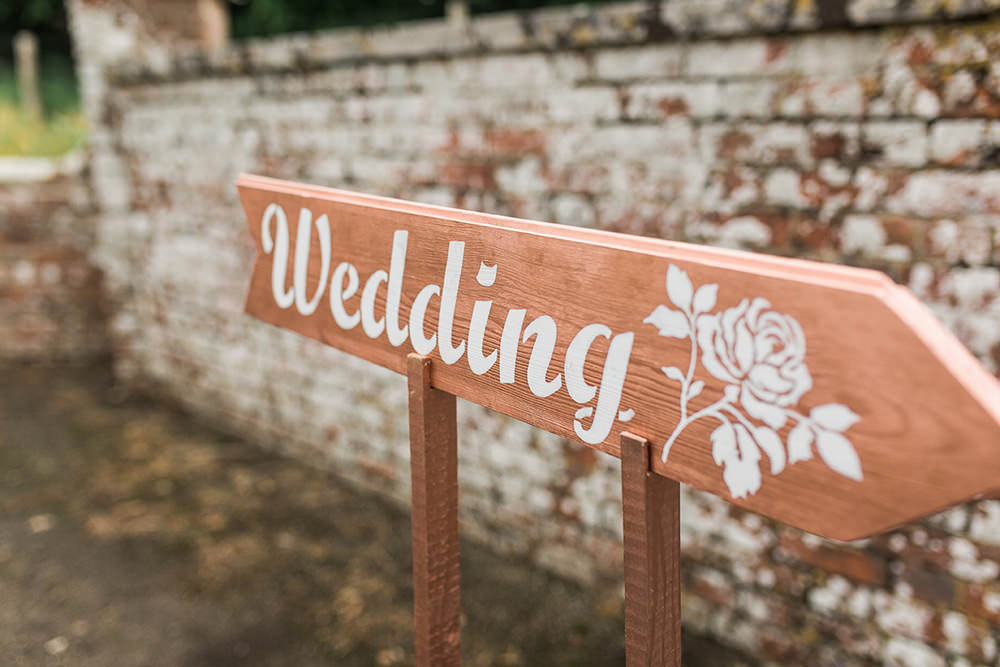 Wedding Signpost Direction Sign Wooden Edmondsham House Wedding Darima Frampton Photography
